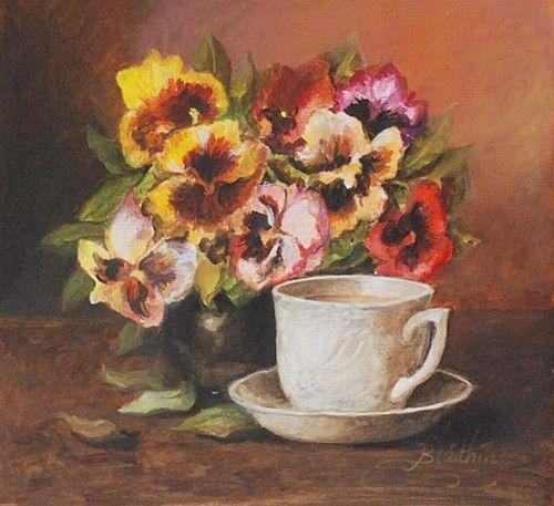 """Blathin, """"Pansies and Coffee"""" #art #chalkpastel #pansies #flowers #StillLife #teacup #coffeecup #DukeStreetGallery"""