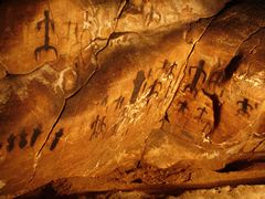 Cave paintings in La Grotta del Genovese on the Egadi island of Levanzo, Sicily.