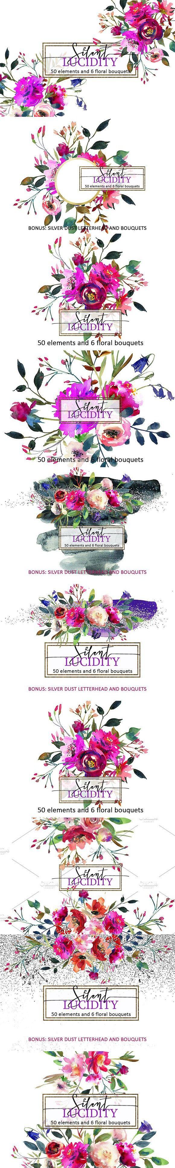 Bright Purple Flowers Clip Art Set. Wedding Card Templates. $10.00