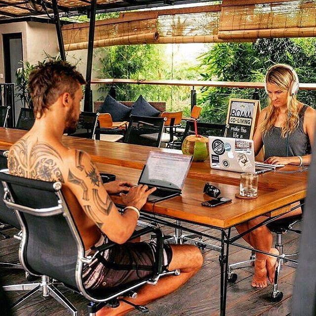 The awesome @dnxglobal founders @marcusmeurer95 & @travelicia #coworking from @roamcoliving in #bali!  Where are you working from today? Tag: #officetoday #nomadpass to be featured! Photo Credit: Marcus Meurer