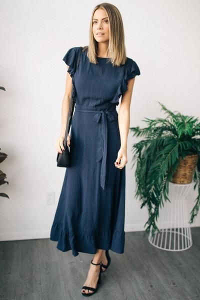 73adcaff7f Nadia Ruffle Sleeve Maxi Dress in Navy in 2019 | My Style | Maxi ...