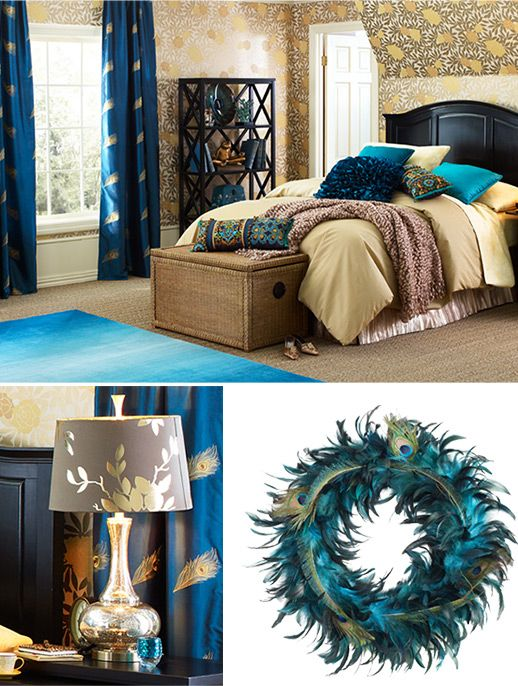 Bedroom Decorating Ideas & Inspirations ǀ Pier 1 Imports. Peacock inspired bedroom. Love the neutral and teal colors together.