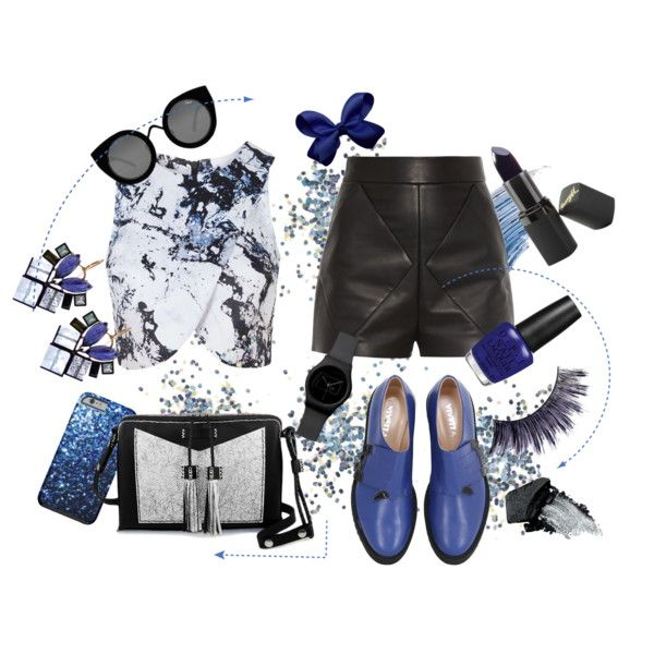 Blue Jasmine by tamaraispeople on Polyvore featuring Topshop, Balenciaga, VIVETTA, Carianne Moore, Nak Armstrong, Quay, Barry M, Manic Panic, Gorgeous Cosmetics and Sisley - Paris