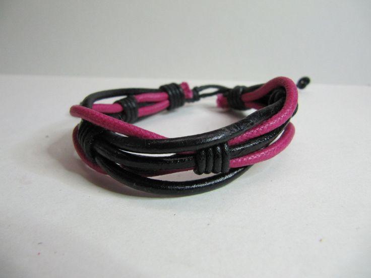 Red & Black Twisted Leather Cord Surfer Bracelet, One size, Cuff, Wrap Bracelet, Secret Santa,  Christmas Gift by BobbyandMeSew on Etsy