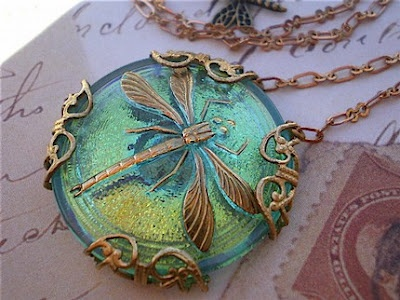"""""""Joy"""" Dragonfly Necklace by Glittery Blue - nesting-instincts.blogspot.com"""