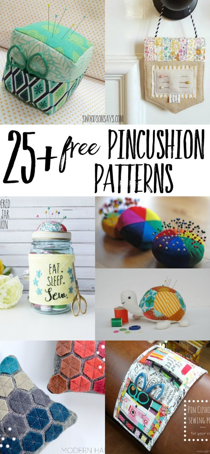A big round up of free pincushion sewing patterns and tutorials! Perfect fabric scrap projects and handmade gifts to sew - use a free pincushion pattern to sew something up quickly! #pincushion #sewingtutorial
