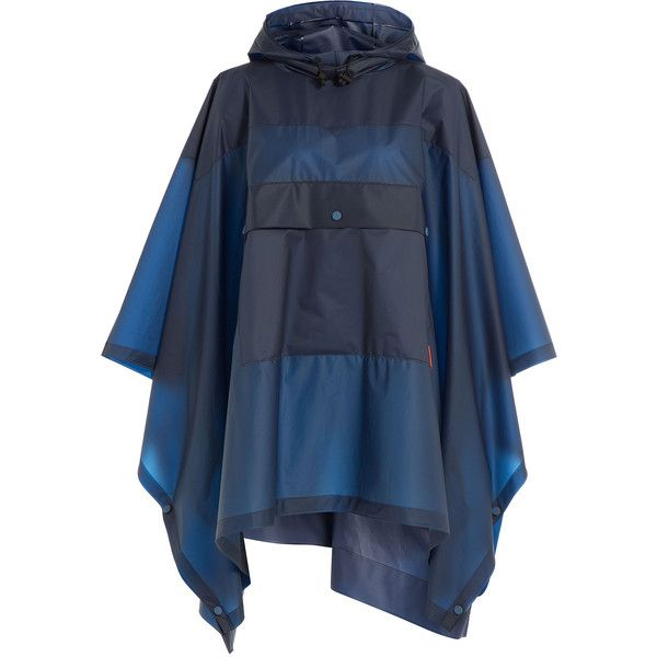 Hunter Original Clear Poncho (280 CAD) ❤ liked on Polyvore featuring outerwear, blue, clear poncho, sheer poncho, hooded poncho and summer poncho
