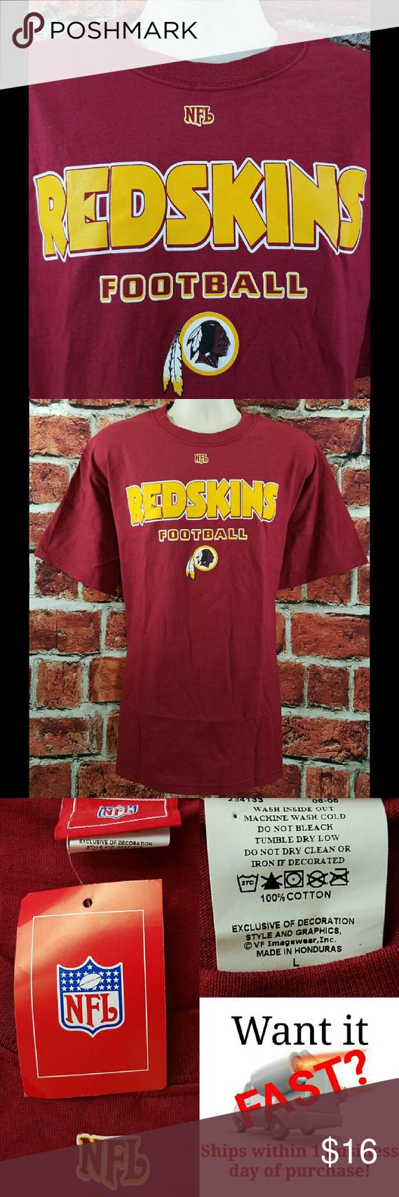 Washington Redskins Logo NFL Football T-Shirt Mens Washington Redskins Maroon NFL Football T-Shirt Size: L Large NEW NWT  About this item: Authentic NFL Brand New  Size: Large Pit to Pit: 23 Length: 29 Sleeve: 9 NFL Shirts Tees - Short Sleeve