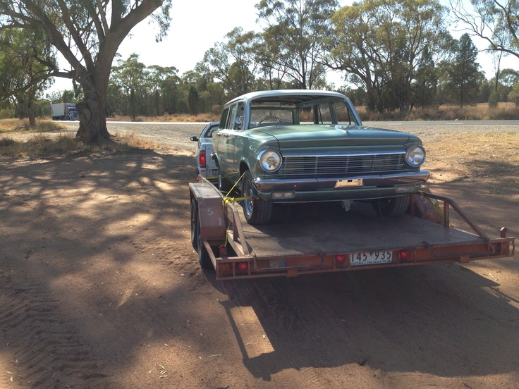 Towing the EH for exhaust, headliner and windscreen installation.