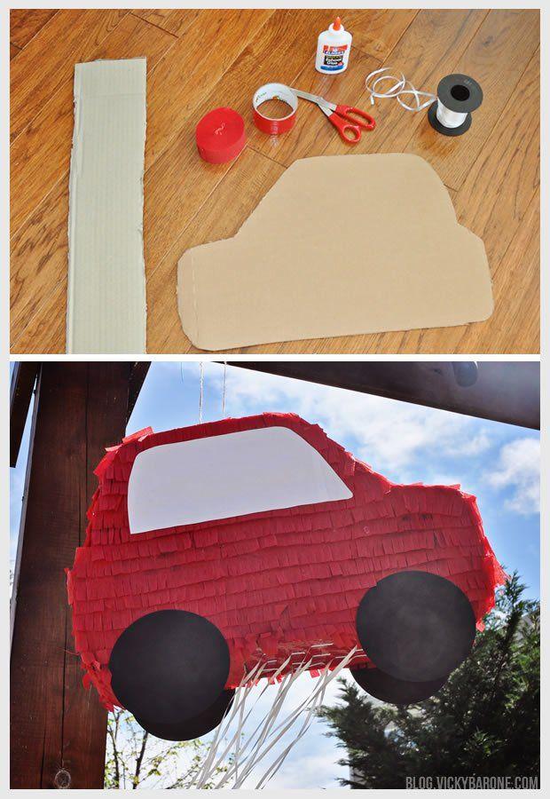 DIY Pull String Pinata | Car Party | Vicky Barone | DIY Piñata | Pinata alternative | racecar party ideas decor projects activities | 2 year old party ideas