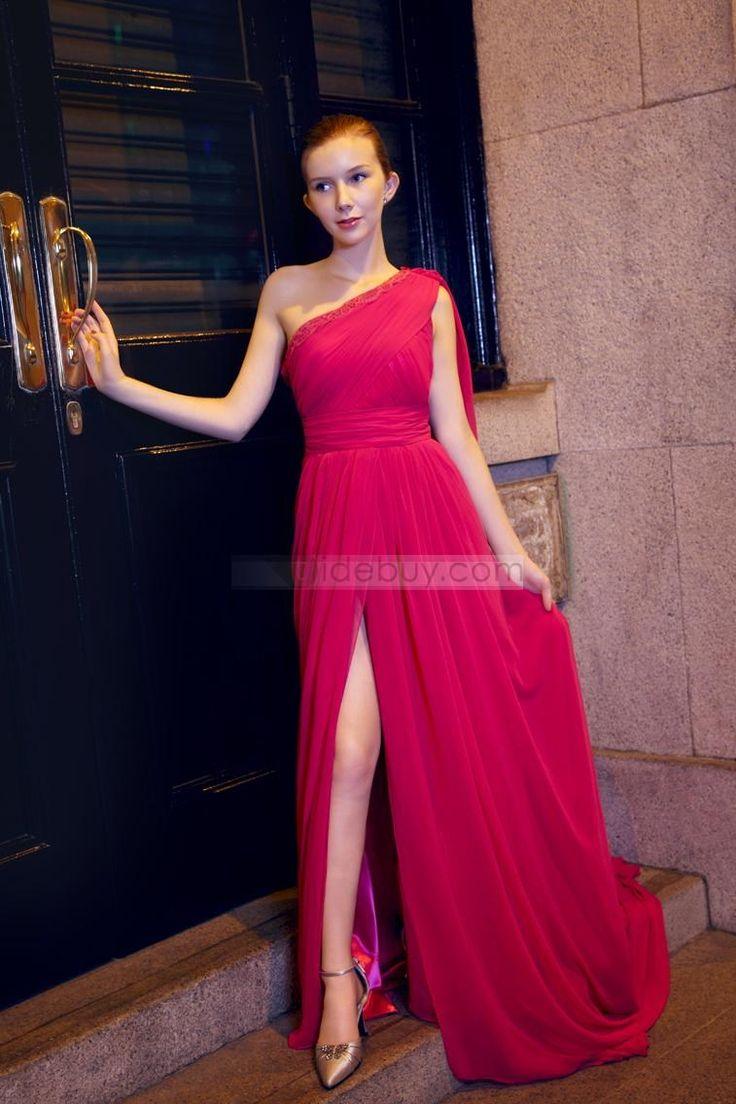 エレガントなラインワンショルダーヴァトースプリットフロントチャペルトレーンイブニング·ページェントドレス