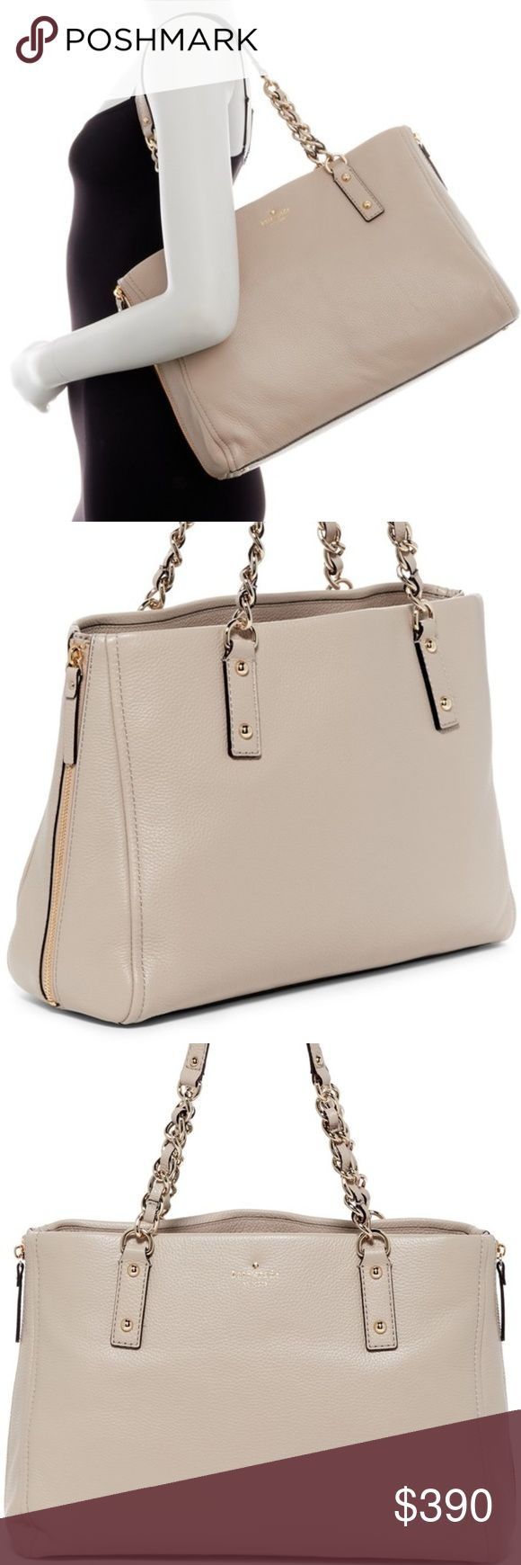 """♠️ Kate Spade ♠️ Cobble Hill Andee Leather Satchel NWT - Authentic and Brand New Kate Spade Cobble Hill Andee Satchel in beige Leather. Color is called """"clock tower"""" which is a kind of beige/grey. Retail $428 + Tax.   * Dual top chain accents handles  * Two side zippers for expansion  * Magnetic snap closure  * Interior: black and white stripe lining; zip wall pocket and two media pockets * Protective metal feet * Dimensions: 10""""H x 14.75"""" W x 4.25"""" D. Approx. 9"""" handle drop. kate spade Bags…"""