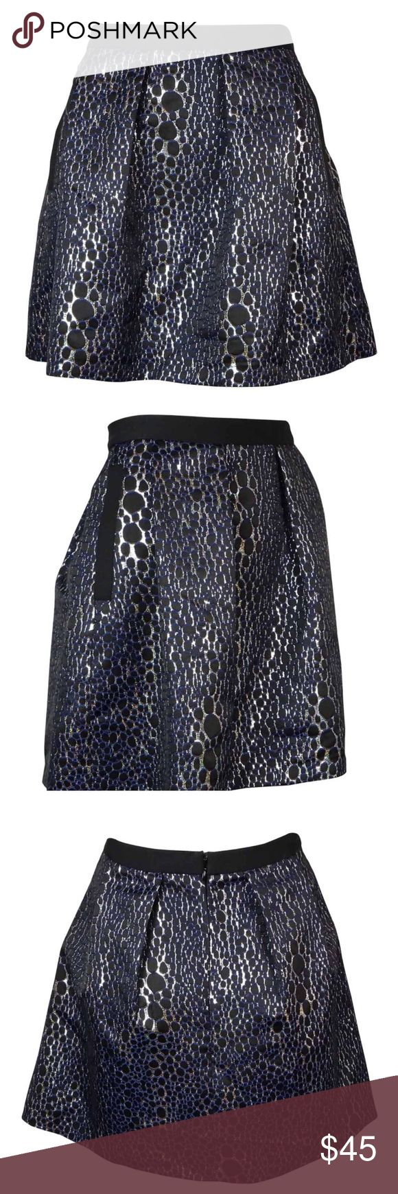French connection women's sparkle A-line skirt This skirt features no lining, concealed back zipper, metallic animal print design, a-line style and polyester fabric blend. Dry clean Not lined - 67% Polyester/20% Acrylic/13% Metallized Fibers; 49% Cotton/48% Polyester/3% Elastane Concealed back zipper Metallic animal print A-line style Polyester fabric blend French Connection Skirts A-Line or Full