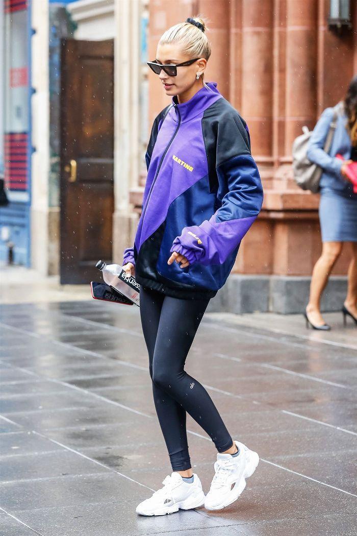 Hailey Baldwin, Adidas Falcon sneakers - #Adidas #Baldwin #Falcon ...
