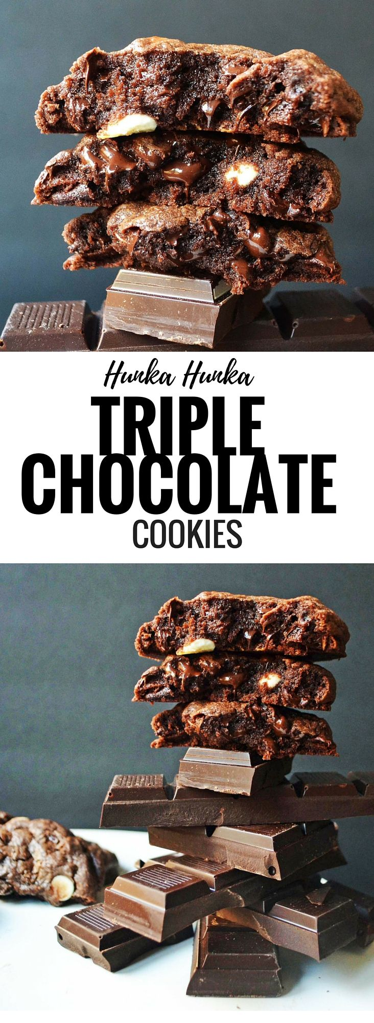 Triple Chocolate Chunk Cookies filled with high quality cocoa, semi-sweet chocolate chips, and white chocolate chips. Best triple chocolate cookie recipe ever.