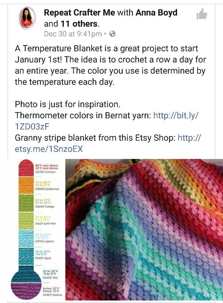 Temperature Blanket The Crochet Thing Pinterest Crochet