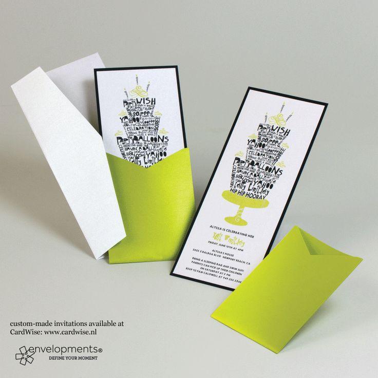 Trouwkaart met zwarte en groene decoratie