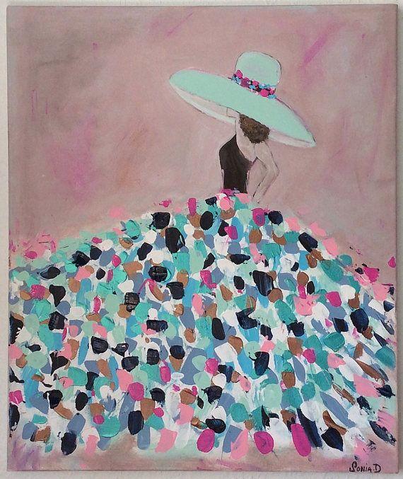 Es ist ein moderner Malerei, der eine Frau in einem Kleid, Pastell-Farben auf einer Leinwand, 55 x 46 Dimension darstellt. Moderne und zeitgenössische Malerei. Die Farben verwendet, Rose, Fuchsia, Maroon, Navy blau, Himmelblau, grün, weiß auf einem alten rosa Hintergrund. Abmessung 55 x 46 cm. Es ist eine Acrylfarbe, Lack und unterzeichnet. Verbotene Reproduktion - Einzelstück Verkaufsbedingungen des Ladens.