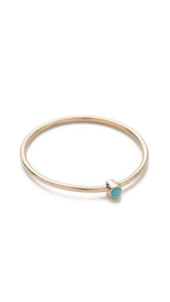 Jennifer Meyer Jewelry Thin Ring with Turquoise. @Lauren Donaldson !!!