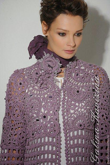 """Irish crochet &: Galina Kavizina. Coat """"Amethyst"""". Галина Кавизина. Пальто…"""