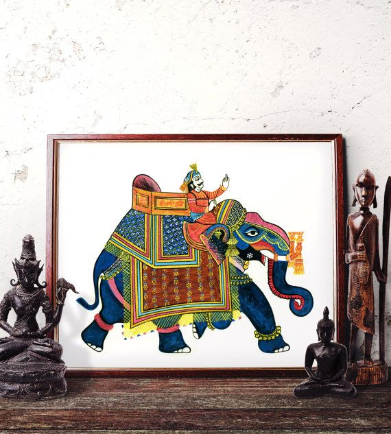 Elephant Wall Art, Traditional Indian Elephant Watercolor Painting, Elephant Home Decor, Bohemian Elephant Art Prints and Original Painting by HermesArts