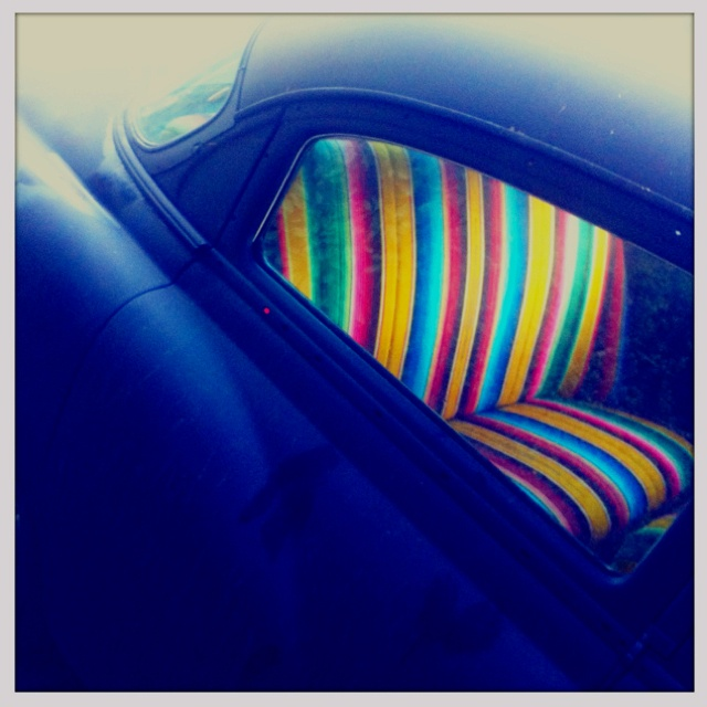 I want to finish the inside of the van seats with Mexican stripey blankets.