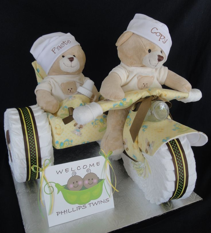 Twins Diaper Cake, motorcycle and side car. www.facebook.com/DiaperCakesbyDiana