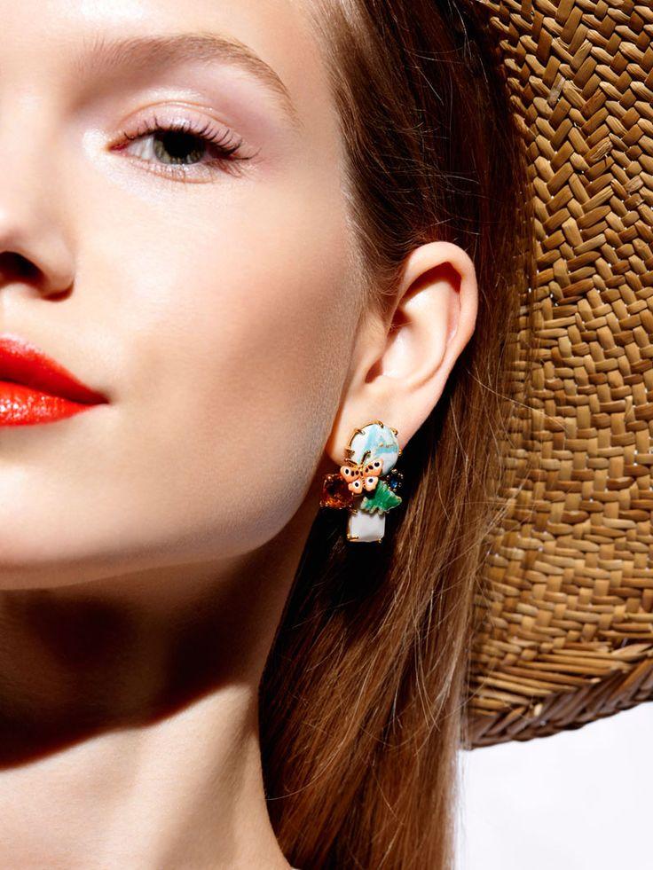 Bijoux fantaisies, Paris, boucles d'oreille, fleurs, insectes, papillon, nature, accessoires, été, lookbook, Les Néréides
