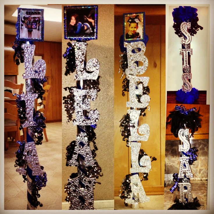 This would be cute for senior displays...have the first name letter on top with picture going down!