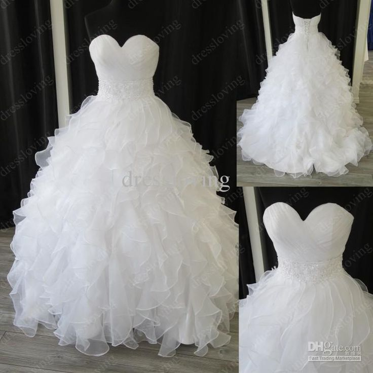 Wholesale Ball Gown Wedding Dresses - Buy Real Sample White Organza Sweetheart Ball Gown Chapel Empire Ruffles Beaded Wedding Dresses 005, $...