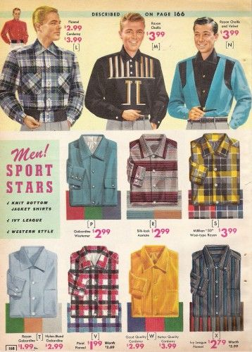 """1957 Button Down Sport shirts Most shirt collars buttoned up to the neck just like dress shirts. Some styles were made """"sporty"""" with double large pockets and more casual materials."""