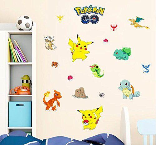Techmac Pokemon Wall Stickers, Peel And Stick, Pikachu/ Charmander/  Bulbasaur/ Snorlax