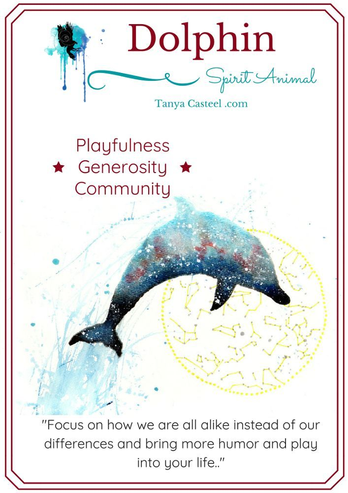 Dolphin spirit animal symbolism, meaning, dreams and watercolor.