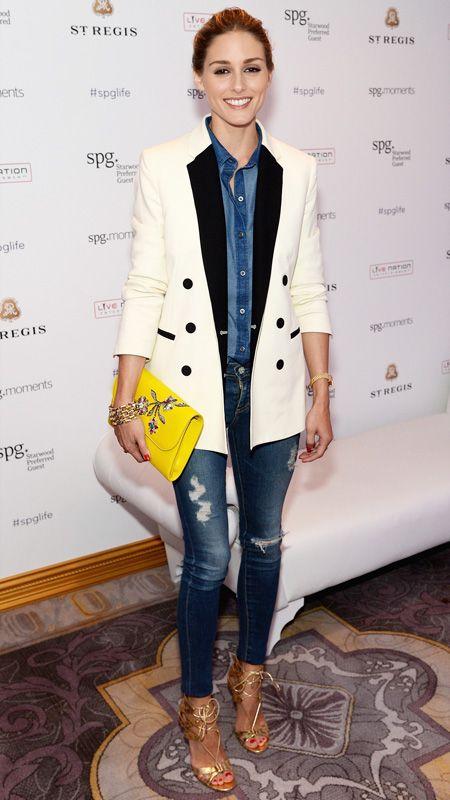 Olivia Palermo  June 2014 Whistle blazer; Old Navy shirt; AG Adriano Goldschmied jeans; Aquazzura sandals; Dior clutch.
