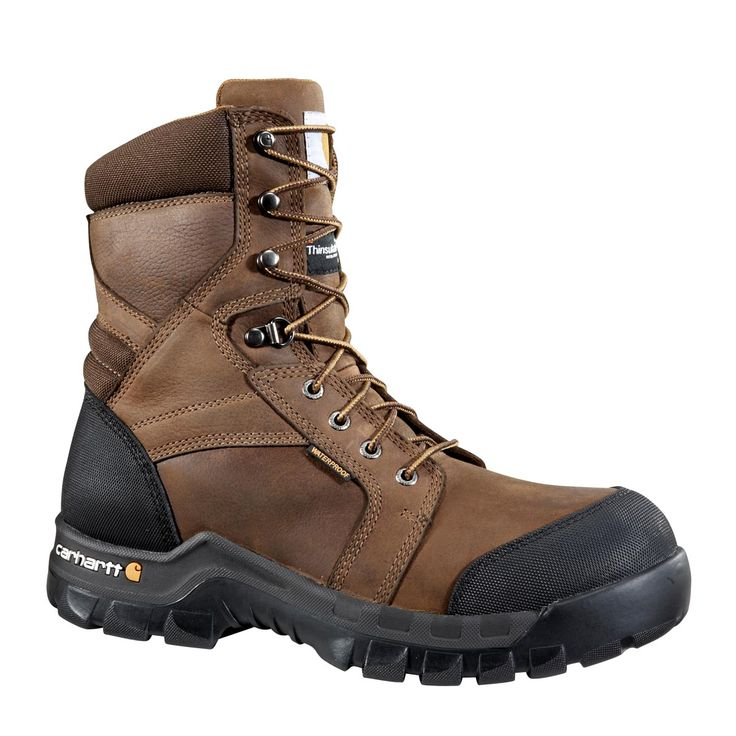 Carhartt Men's 8 Inch Brown Rugged Flex Waterproof Insulated Work Boot - Non Safety Toe | Free Shipping