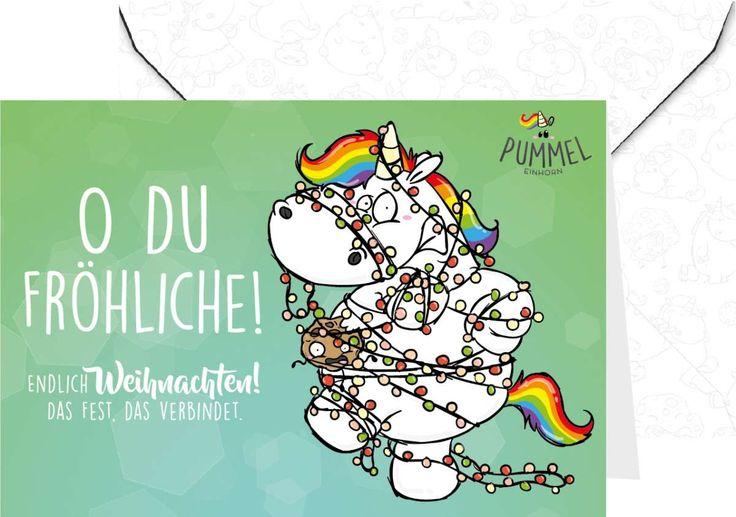 Pummeleinhorn Grußkarte - X-Mas O du Fröhliche! #pummeleinhorn #weihnachten