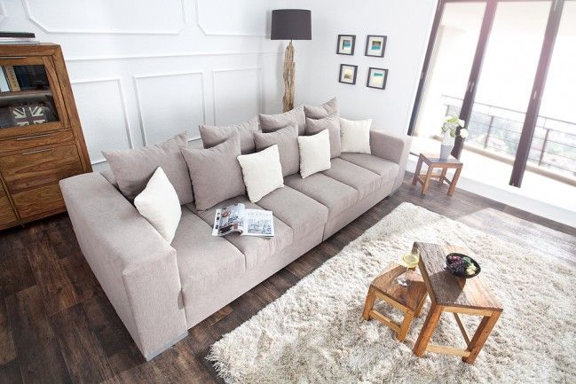 """Design XXL Sofa BIG SOFA ISLAND Soft Baumwolle greige inkl. Kissen - Das imposante Design Sofa """"BIG SOFA ISLAND"""" in XXL Format lädt Sie und Ihre Besucher zum Entspannen, Träumen und netten Beisammense"""