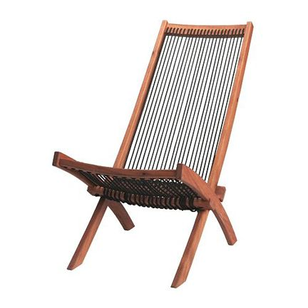 ikea deck chair acacia wood string twine rope mid-century modern outdoor furniture