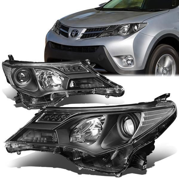For 13-15 RAV4 OE Replacement Projector Headlight//Lamp Black Housing Amber Side