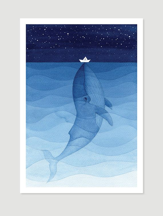 Blue whale original illustration wall hanging nautical wall