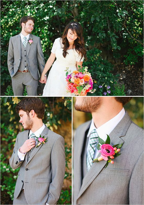 Holly: three piece suit for Kyle, two piece for the rest of the guys. Love the boutonnière and suit here.