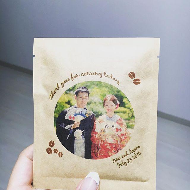 ♡二次会のプチギフト♡ #四国珈琲#和装前撮り#ちーむ0723#ドリップコーヒー#やっぱりプチギフトはこれ#夏挙式