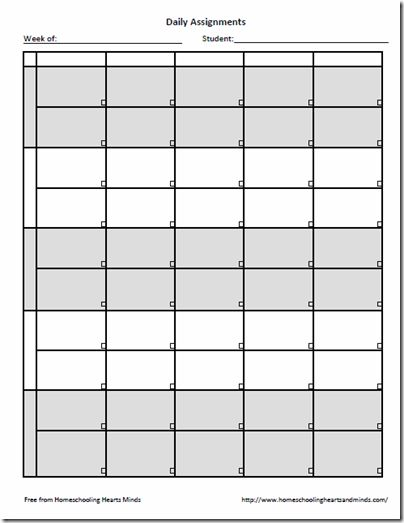 weekly assignment template
