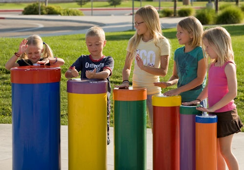 Tuned Drums - These tuned drums can be made in various heights to accommodate different age groups.