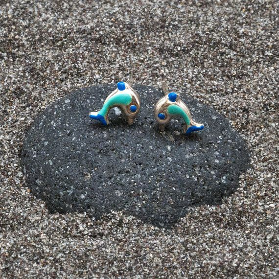 Fish Earrings Tiny Sterling Silver Blue Enameled by AllAboutSeas