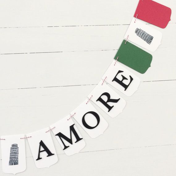 Made to Order   This listing is for one Italian theme party banner. Your banner will be made with heavy card-stock, foam letters and strung on coordinating bakers twine. The banner pictured features 17 fancy pennants spelling the phrase Thats Amore. You can choose from Thats Amore, Bride to Be or Happy Birthday during checkout. The words will be separated with three stamped images of the Leaning Tower of Pisa. Each piece measures 4-1/2 X 2-3/4. A great way to set the mood for an Italian…