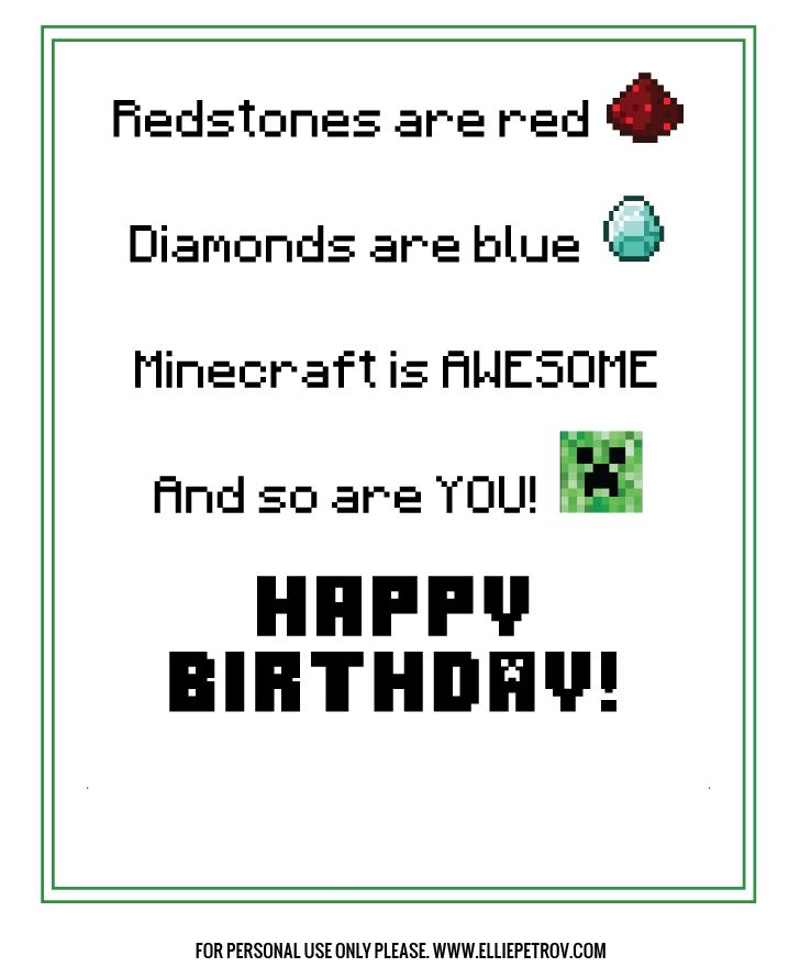 free printable minecraft birthday card your life the o
