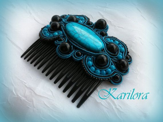 Soutache Hair Accessory Black and Turquoise Hair Comb by KARILORA, £22.00