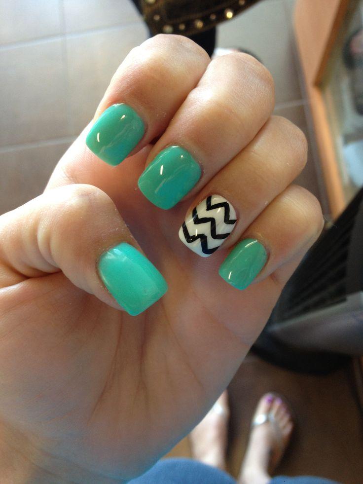 Teal Gel Nails Nail Ideas Pinterest Ring Finger