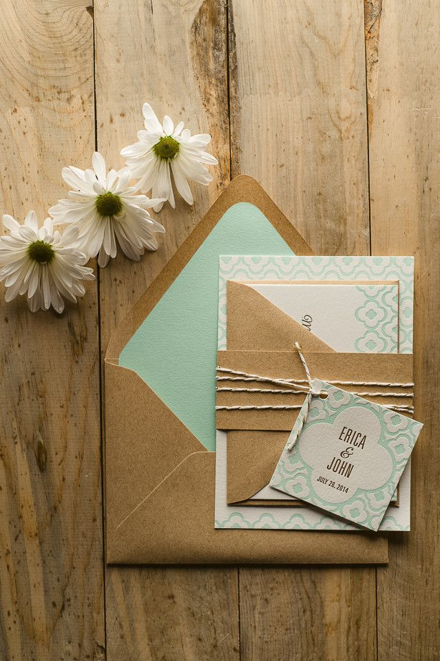 DANICA Suite Rustic Plus Package, gold and mint, kraft and mint, letterpress wedding invitations, rustic wedding invitations with twine, invitation twine and tag